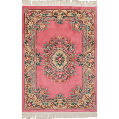Allen Park Hand-Knotted Wool Dark Pink Indoor Area Rug