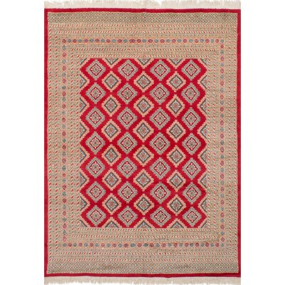 Onondaga Hand-Knotted Wool Red Geometric Indoor Area Rug