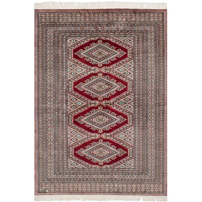Olney Springs Hand-Knotted Wool Dark Red/Tan Indoor Area Rug