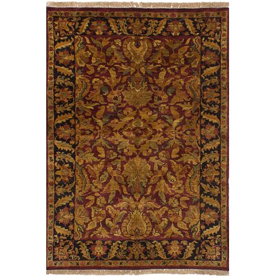 One-of-a-Kind Ina Hand-Knotted Wool Rectangular Dark Red/Brown Indoor Area Rug