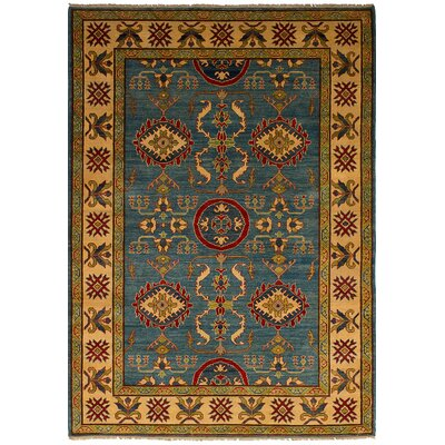 Bernard Traditional Hand-Knotted Wool Rectangular Blue Indoor Area Rug
