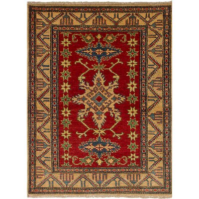 Bernard Hand-Knotted Weave Wool Rectangular Red Geometric Indoor Area Rug