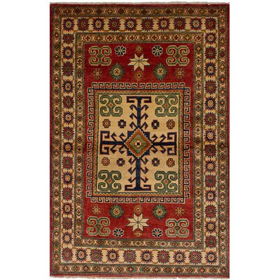 Bernard Hand-Knotted Wool Red Tribal Indoor Area Rug