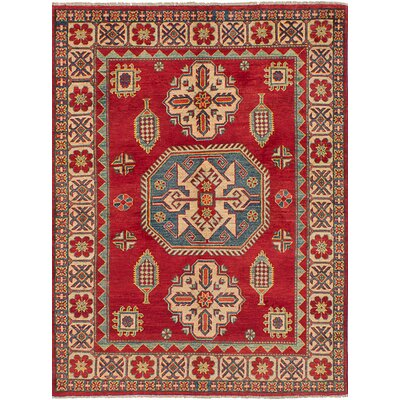Bernard Hand-Knotted Weave Wool Rectangular Red Indoor Area Rug
