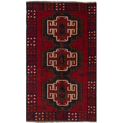 One-of-a-Kind Onawa Hand-Knotted Wool Red Geometric Indoor Area Rug