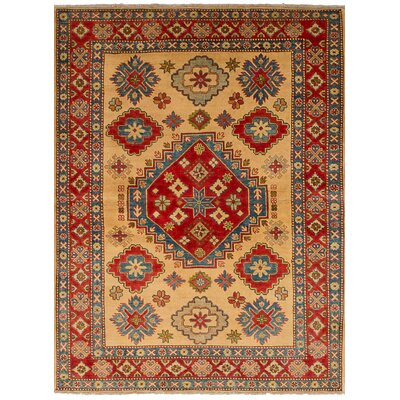Bernard Hand-Knotted Wool Cream/Red Indoor Area Rug