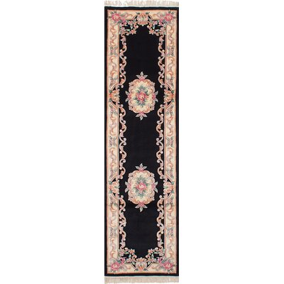 One-of-a-Kind Allen Park Hand-Knotted Wool Black Indoor Area Rug Rug Size: Runner 26 x 91