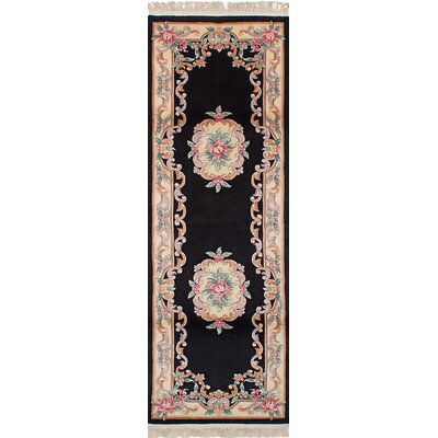 One-of-a-Kind Allen Park Hand-Knotted Wool Black Indoor Area Rug Rug Size: Runner 26 x 8