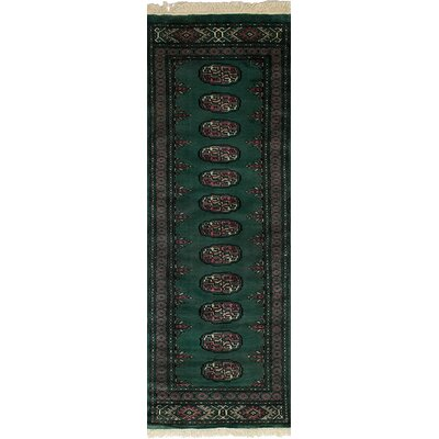 Onondaga Hand-Knotted Wool Dark Green Indoor Bordered Area Rug