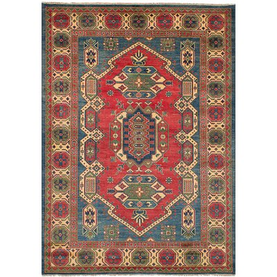 Bernard Hand-Knotted Wool Blue/Red Indoor Area Rug
