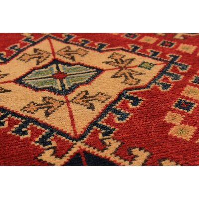 Bernard Traditional Hand-Knotted Wool Rectangular Red Geometric Indoor Area Rug