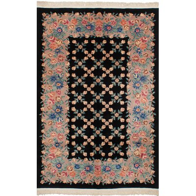Allen Park Traditional Hand-Knotted Wool Black Indoor Area Rug