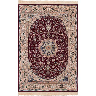 Lacefield Hand-Knotted Wool Dark Red Indoor Area Rug
