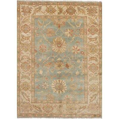 One-of-a-Kind Bassford Hand-Knotted Wool Light Blue/Beige Area Rug