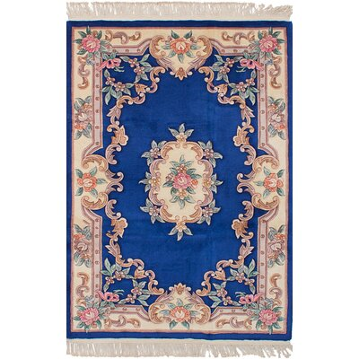Allen Park Hand-Knotted Wool Rectangle Dark Blue Indoor Area Rug
