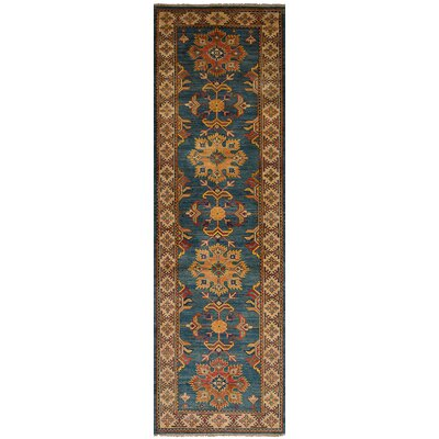 One-of-a-Kind Bernard Hand-Knotted 100% Wool Blue Area Rug Rug Size: Runner 28 x 93