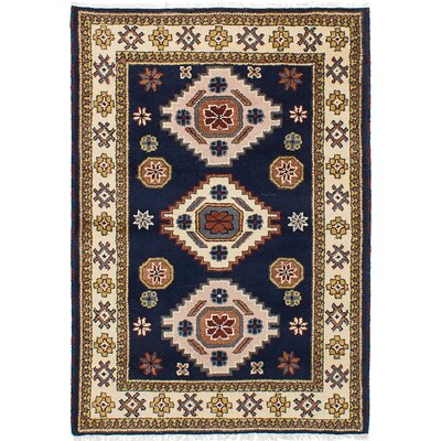 One-of-a-Kind Berkshire Hand-Knotted Wool Dark Navy/Beige Indoor Area Rug