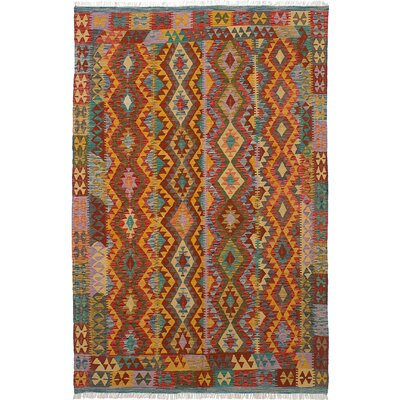 Fianna Hand-Woven Wool Dark Red/Light Orange Indoor Area Rug