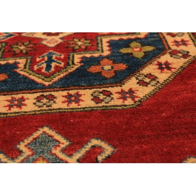 Bernard Traditional Hand-Knotted Weave 100% Wool Rectangular Red Geometric Indoor Area Rug