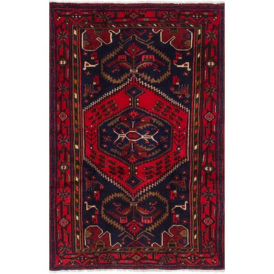 One-of-a-Kind Roth Hand-Knotted Wool Dark Navy/Red Indoor Area Rug