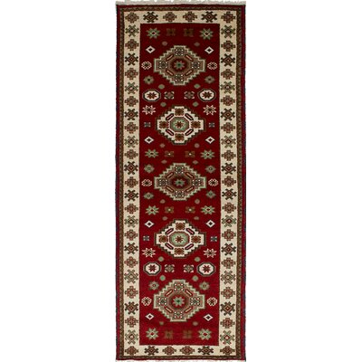 Berkshire Hand-Knotted Wool Dark Red Geometric Indoor Area Rug