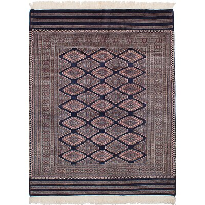 Olney Springs Hand-Knotted Wool Dark Navy Geometric Indoor Area Rug