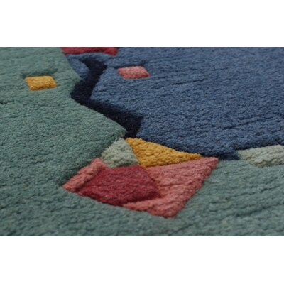 Orange Hand-Knotted Wool Slate Blue Indoor Area Rug
