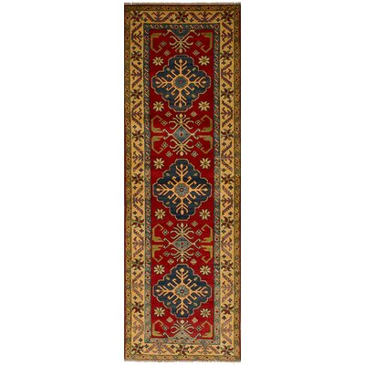 Bernard Hand-Knotted Wool Rectangular Red Floral Indoor Area Rug