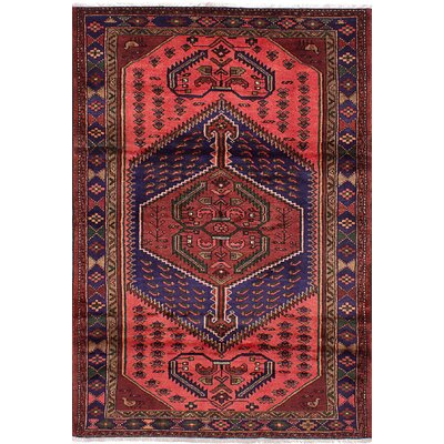 Roth Hand-Knotted Wool Rectangular Copper/Navy Blue Indoor Area Rug