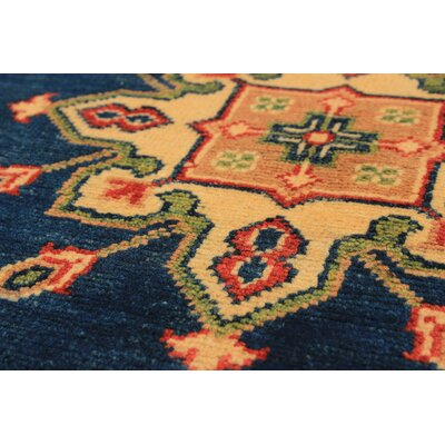 One-of-a-Kind Bernard Hand-Knotted Wool Navy Blue/Yellow Indoor Area Rug