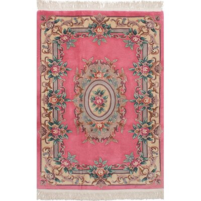 Allen Park Traditional Hand-Knotted Wool Dark Pink Indoor Area Rug