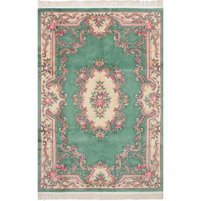 Allen Park Hand-Knotted Wool Teal Indoor Area Rug