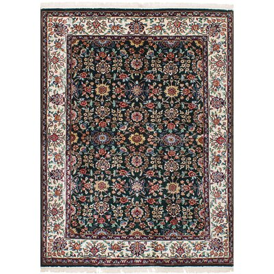 Lacefield Hand-Knotted Silk Dark Green Indoor Area Rug