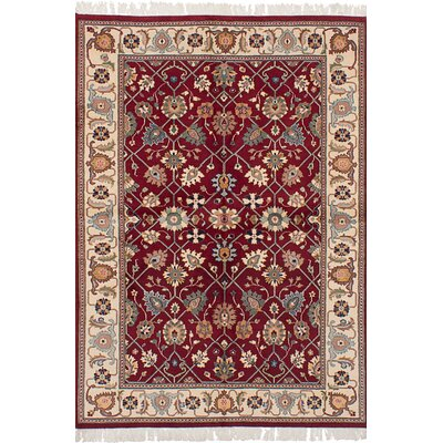 Kennett 18/20 Hand-Knotted Wool Dark Red Indoor Area Rug