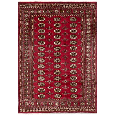 Olney Springs Hand-Knotted Wool Red Indoor Bordered Area Rug