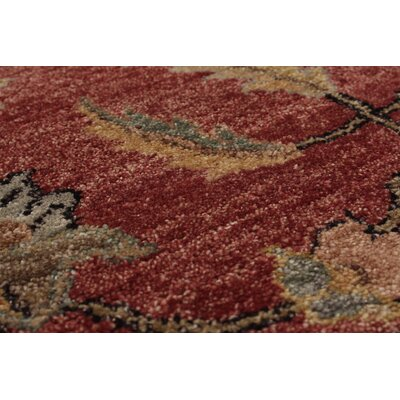 One-of-a-Kind Charlena Hand-Knotted Wool Dark Red/Beige Area Rug