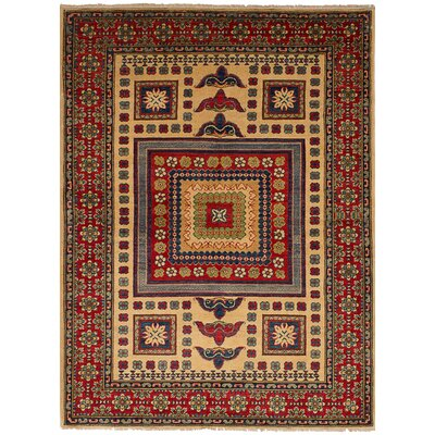 Bernard Traditional Hand-Knotted Wool Cream/Red Indoor Area Rug