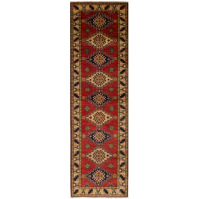 Bernard Hand-Knotted Weave 100% Wool Rectangular Red Geometric Indoor Area Rug