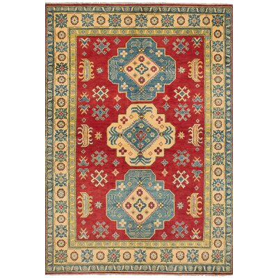 One-of-a-Kind Bernard Hand-Knotted Wool Red/Green Indoor Area Rug