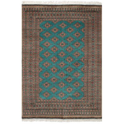 Onondaga Hand-Knotted Wool Teal Bordered Indoor Area Rug