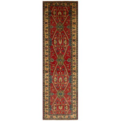 Bernard Traditional Hand-Knotted Weave Wool Runner Red Indoor Area Rug