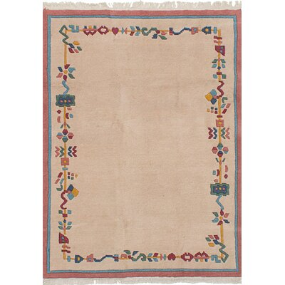 One-of-a-Kind Orange Hand-Knotted Wool Ivory Indoor Area Rug