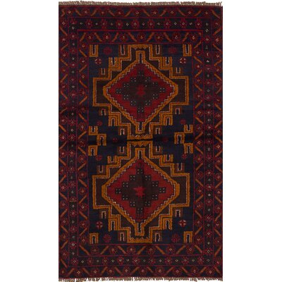 Onawa Hand-Knotted Wool Dark Navy/Red Indoor Area Rug