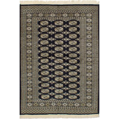 Olney Springs Hand-Knotted Wool Rectangular Dark Navy Indoor Area Rug