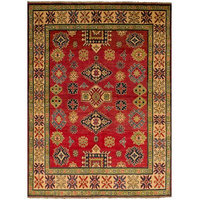 Bernard Hand-Knotted Weave 100% Wool Red Geometric Indoor Area Rug