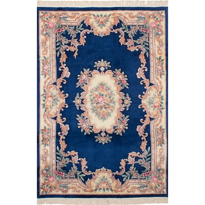 Allen Park Traditional Hand-Knotted Wool Dark Blue Indoor Area Rug