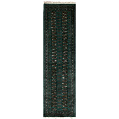 One-of-a-Kind Olney Springs Hand-Knotted Wool Dark Green Area Rug