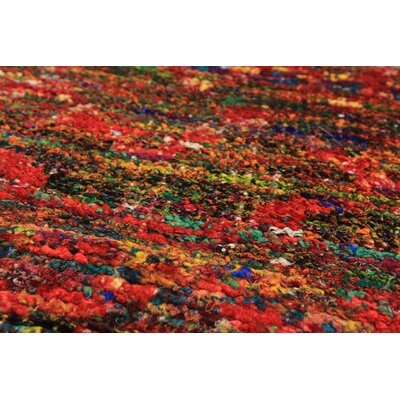 One-of-a-Kind Orchard City Hand-Knotted Silk Red Indoor Area Rug