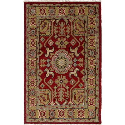 One-of-a-Kind Berkshire Traditional Hand-Knotted Wool Red/Green Indoor Area Rug