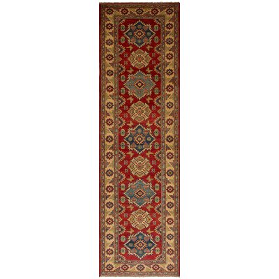 Bernard Traditional Hand-Knotted Weave Wool Rectangular Red Geometric Indoor Area Rug